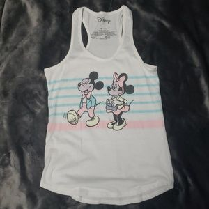 Mickey and minnie tank top racerback NWOT white